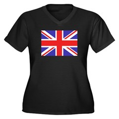 British Flag Women's Plus Size V-Neck Dark T-Shirt