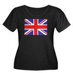 British Flag Women's Plus Size Scoop Neck Dark T-S