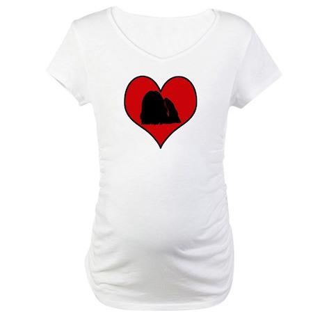 Maltese heart Maternity T-Shirt