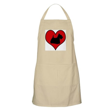 Scottish Terrier heart BBQ Apron