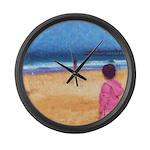 Children On Beach Large Wall Clock