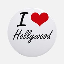 I love Hollywood Round Ornament
