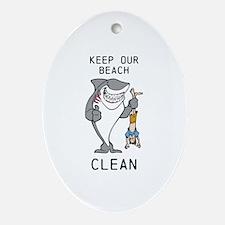 Clean Beaches Oval Ornament