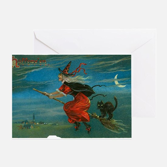 Vintage Halloween Postcard - Witch & Greeting Card