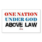 Under God Above Law Rectangle Sticker