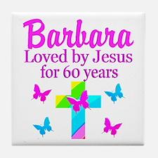 PRAYING 60 YR OLD Tile Coaster