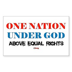 One Nation Above Equal Rights Sticker (Rectangular