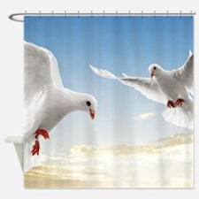 White Doves In The Sky Shower Curtain
