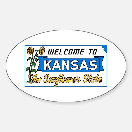 Welcome to Kansas Vintage 50s - USA Sticker (Oval)