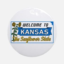 Welcome to Kansas Vintage 50s - USA Round Ornament