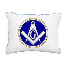 Blue Masonic Rectangular Canvas Pillow