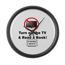 TURN OFF THE TV AND READ A BOOK. Large Wall Clock