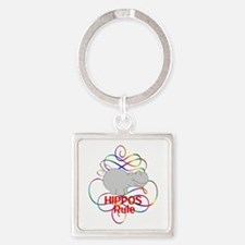 Hippos Rule Square Keychain