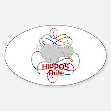 Hippos Rule Sticker (Oval)