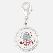 Elephants Rule Silver Round Charm
