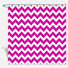 Hot Pink Chevron Pattern Shower Curtain