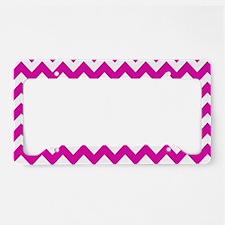 Hot Pink Chevron Pattern License Plate Holder