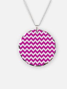 Hot Pink Chevron Pattern Necklace