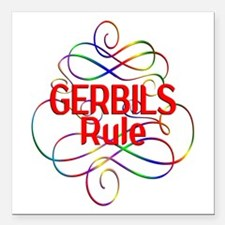 "Gerbils Rule Square Car Magnet 3"" x 3"""