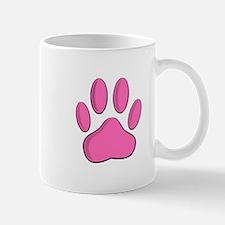 Hot Pink Dog Paw Print Mugs