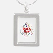 Dogs Rule Silver Portrait Necklace