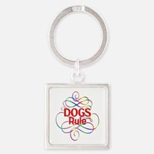 Dogs Rule Square Keychain