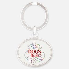 Dogs Rule Oval Keychain