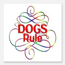"Dogs Rule Square Car Magnet 3"" x 3"""