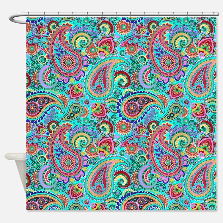 Turquoise Paisley Shower Curtains Turquoise Paisley