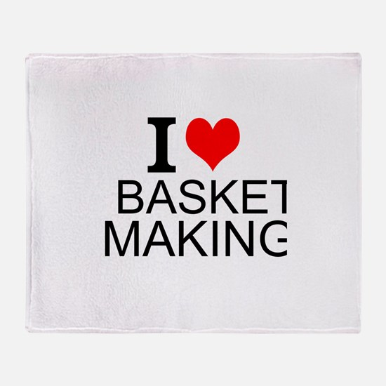 I Love Basket Making Throw Blanket