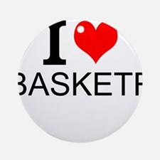 I Love Basketry Round Ornament
