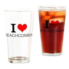 I Love Beachcombing Drinking Glass