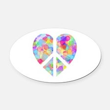 Cute Stained glass flag heart Oval Car Magnet