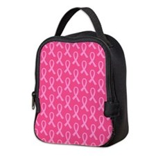 Pink Ribbon Pattern Neoprene Lunch Bag