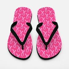 Pink Ribbon Pattern Flip Flops