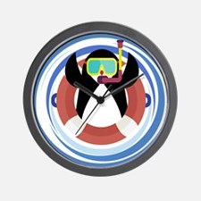 Cute Scuba Penguin Wall Clock