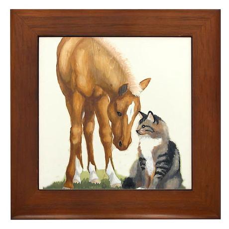 Mini Horse and Cat Framed Tile