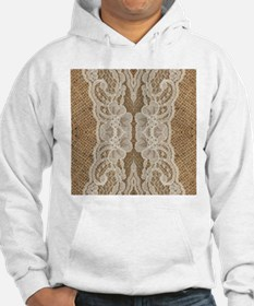 shabby chic burlap lace Hoodie