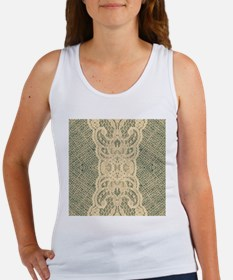 shabby chic mint burlap lace Tank Top