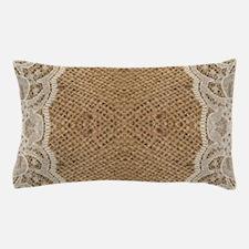 shabby chic burlap lace Pillow Case