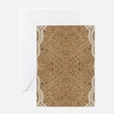 shabby chic burlap lace Greeting Cards