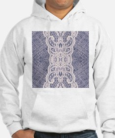 Country chic blue denim lace Hoodie