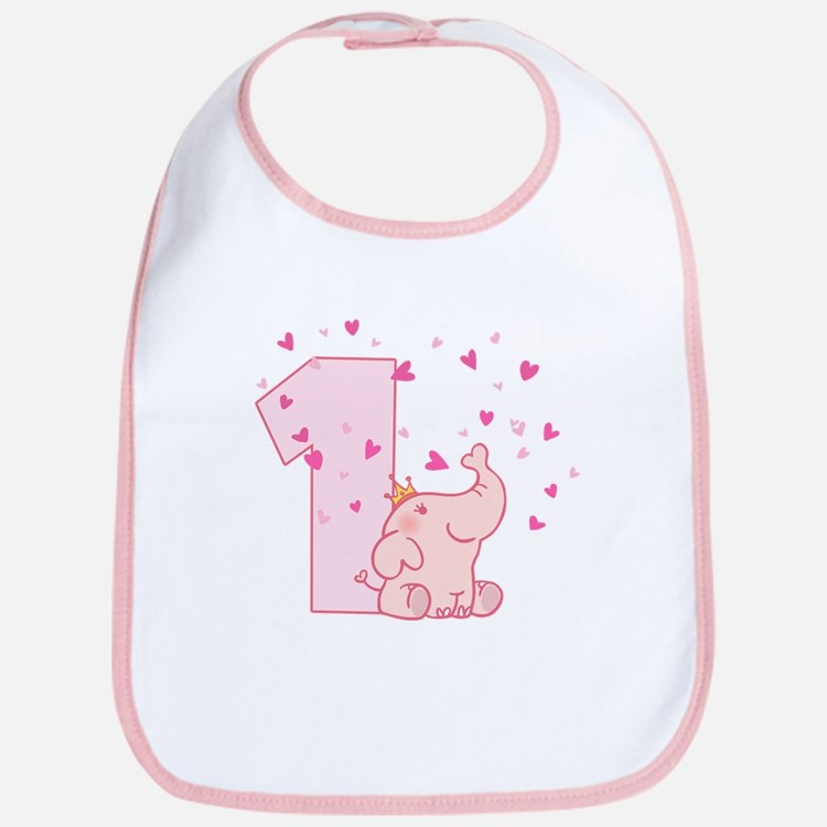 Pink Elephant 1st Birthday Bib