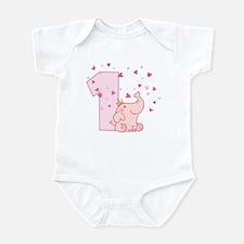 Pink Elephant 1st Birthday Infant Bodysuit