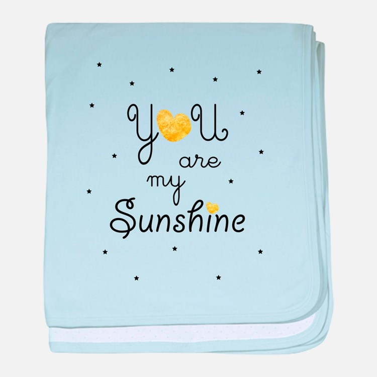 You are my sunshine - gold baby blanket