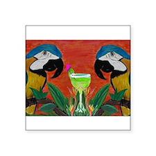 "Cute Parrot head Square Sticker 3"" x 3"""
