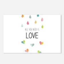 All you need is LOVE Postcards (Package of 8)