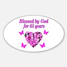 BLESSED 65TH Sticker (Oval)