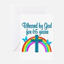 BLESSED 65TH Greeting Card