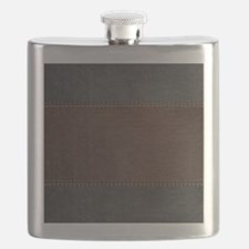 Brow And Black Vintage Leather Look Flask